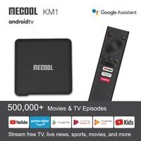 Mecool nuevo KM1 Amlogic S905X3 Adnroid 10,0 4G 64G 4K S905X3 Control de voz de apoyo de Youtube 4K Wifi Dual Set Top Box