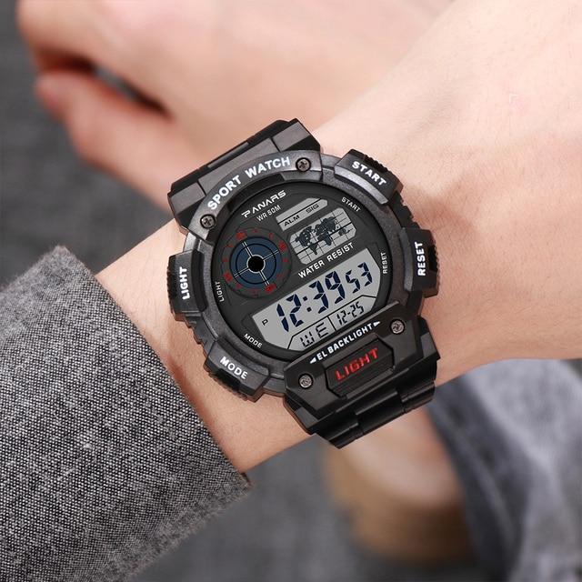 PANARS אופנה כסף גברים ספורט דיגיטלי שעון LED זוהר 50bar עמיד למים אלקטרוני הכרונוגרף פלדת יוקרה שעוני יד