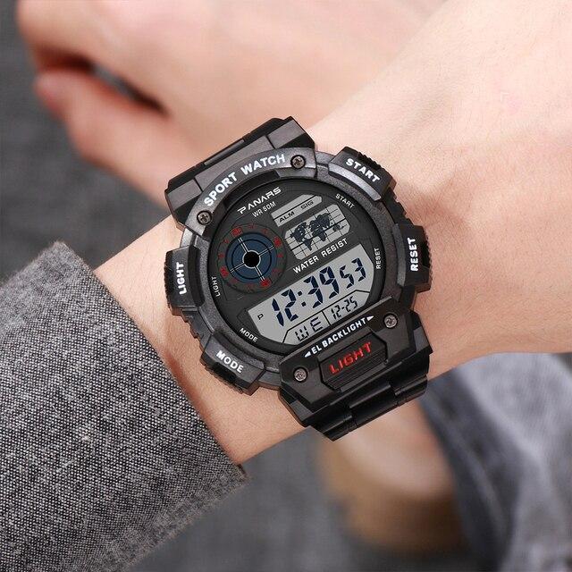 Panars Mode Zilveren Mannen Sport Digitale Horloge Led Lichtgevende 50bar Waterdichte Elektronische Chronograaf Staal Luxe Horloge