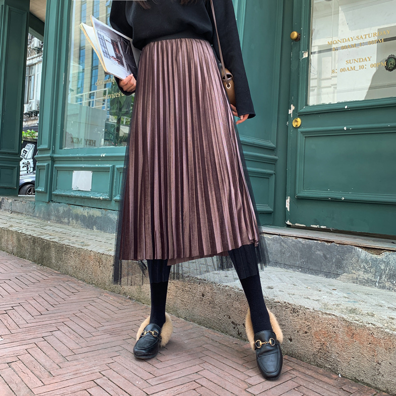 Spring Autumn 2020 Women Long Elegant Silver Maxi Mesh Pleated Skirt Midi Skirt High Waist Elascity Casual Party Skirt Vintage
