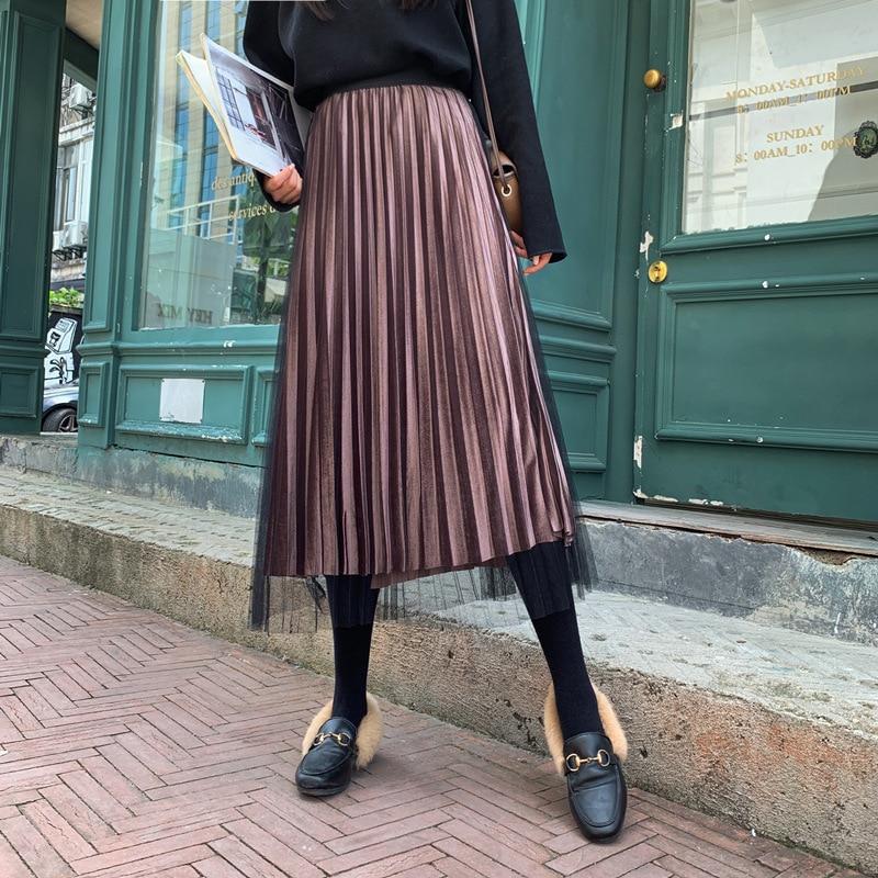 Spring Autumn 2020 Women Long Elegant Silver Maxi Mesh Pleated Skirt Midi Skirt High Waist Elascity Casual Party Skirt Vintage