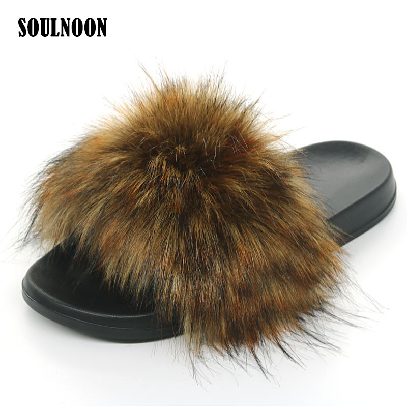 Women Faux Fur Furry Slippers Cute Plush Flip Flops Flat Non-slip Woman's Indoor Warm Slides Girls Casual Shoes Home Slippers