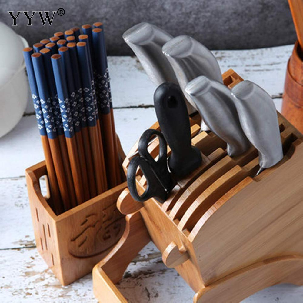 Bamboo Kitchen Knives Storage Rack Knife Holder Multifunctional Storage Rack Tool Holder Knife Block Stand Kitchen Accessories