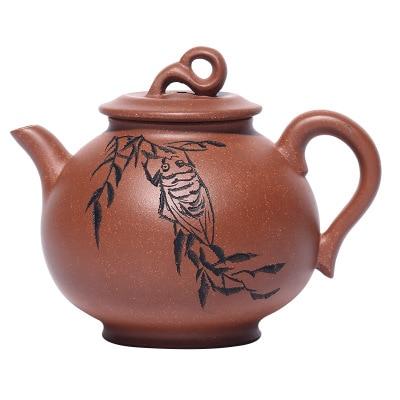 Chinese Yixing Zisha Black Vermilion Clay Handmade Iron-like Xishi Gongfu Teapot