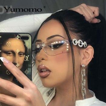 Crystral Sunglasses Women Men Fashion Personlity Windshield UV Protection Blu Yellow UV400 Mirror Feminino De Sol Gafas 1