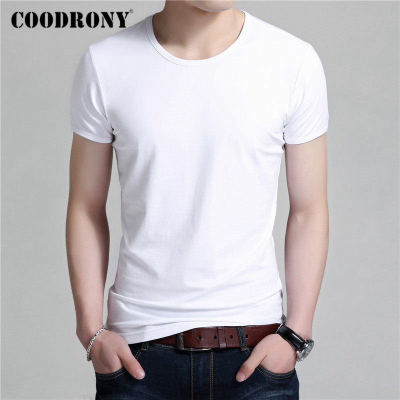 COODRONY Summer Short Sleeve T Shirt Men Classic Pure Color O-neck Bottoming T-Shirt Men Clothes Cotton Tee Shirt Homme C5017S