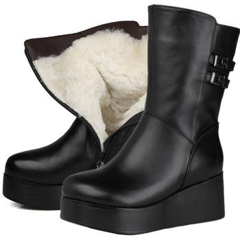 2020 New Genuine leather boots women platform buckle wedges ankle boots nature sheep wool warm winter snow boots