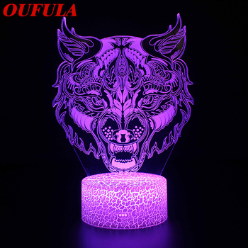 OUTELA Night LED Lights Novelty 3D  lamp Cute Toy Gift 7 ColorCartoon Atmosphere Lamp For Children Kids Room