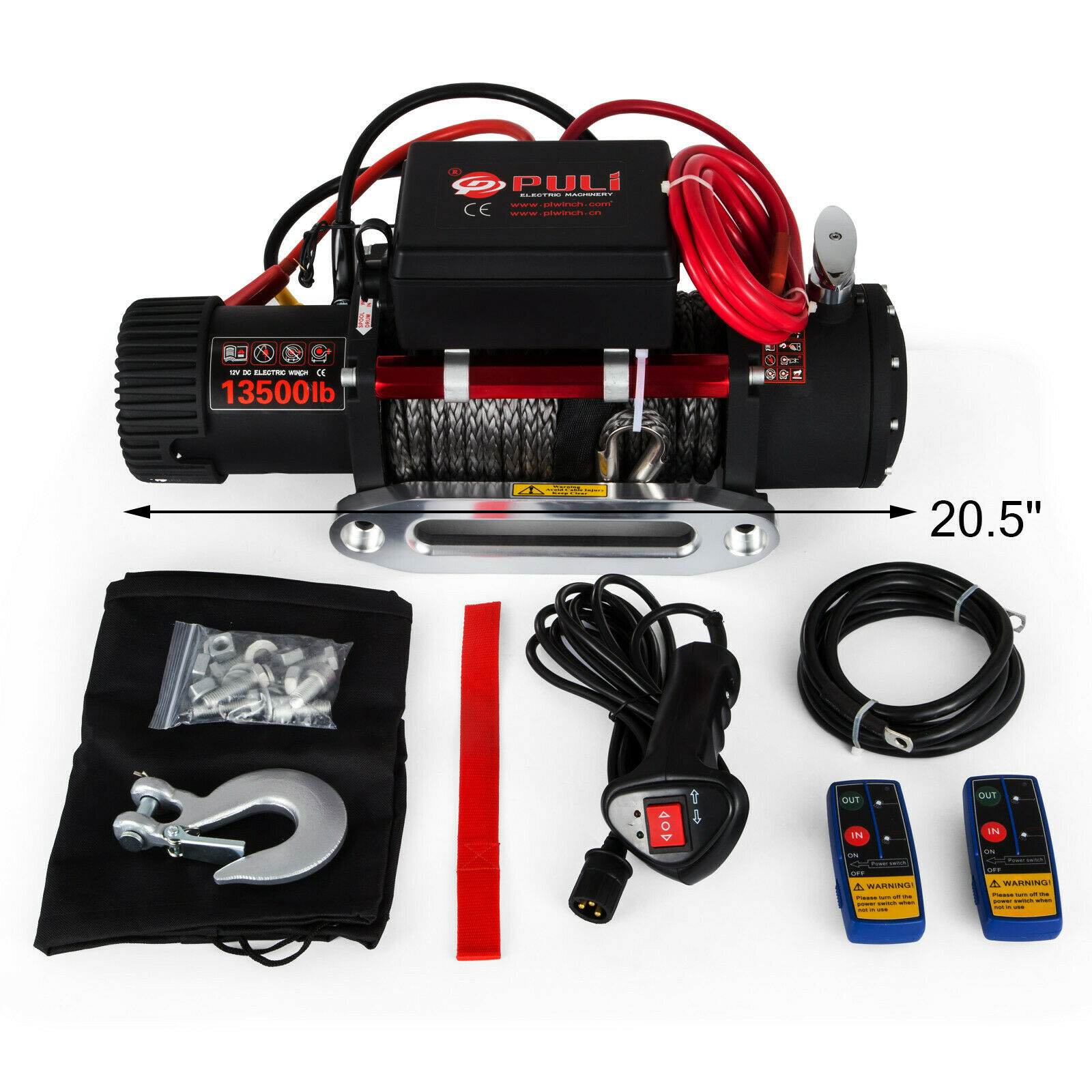 13500LBS 12V Electric Synthetic Rope Winch 6123.5Kg Gear Train Roller Fairlead