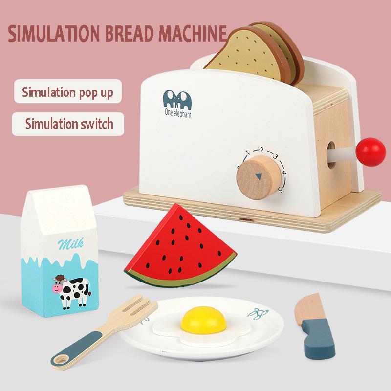 Novas crianças de madeira fingir jogar conjuntos simulação torradeiras máquina de café máquina liquidificador kit cozimento jogo misturador cozinha brinquedos papel