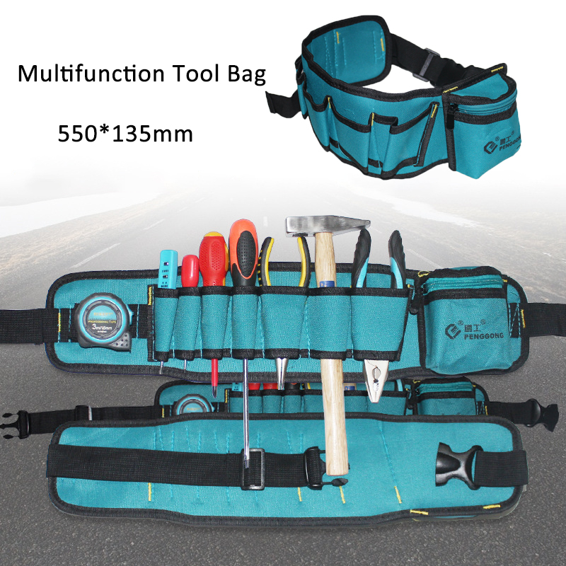 530*135mm Waist Bag Multi-pockets Tool Bag 600D Oxford Cloth Multifunction Durable Pocket Electrician Tool Bag Waist Oganizer