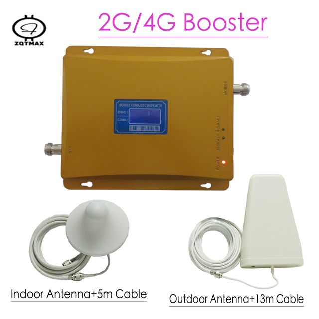 ZQTMAX 2G 4G Mobile Amplifier Dual Band 900 1800MHz GSM DCS LTE Cellular Signal Booster with cable antenna set