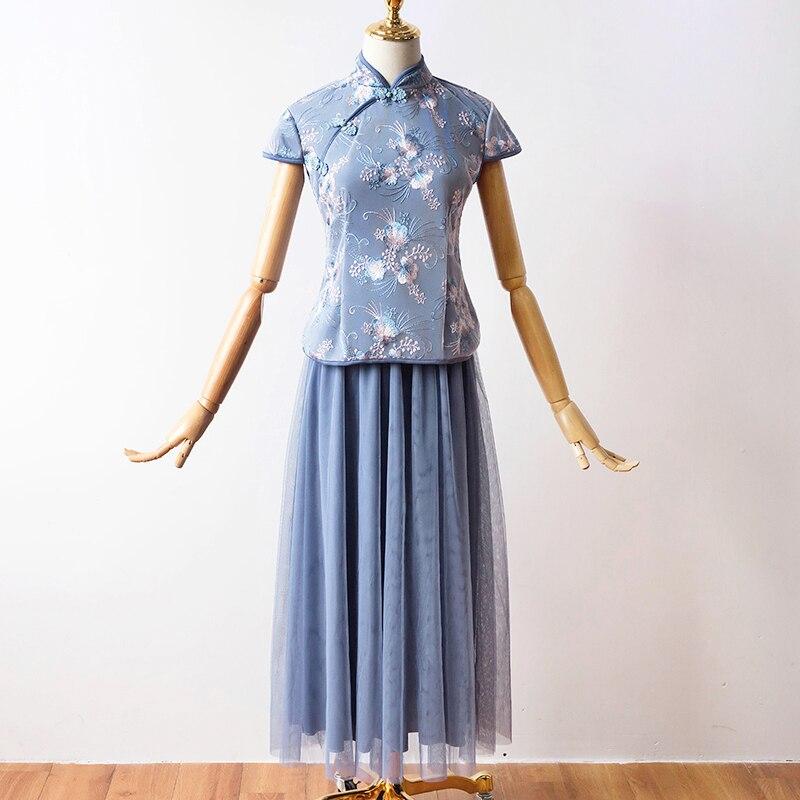 2 Pcs/set Satin Tulle Plus Size Bridesmaid Dress Cheongsam Women Party Dresses Tea-Length Embroidery Vintage Qipao Elegant Prom