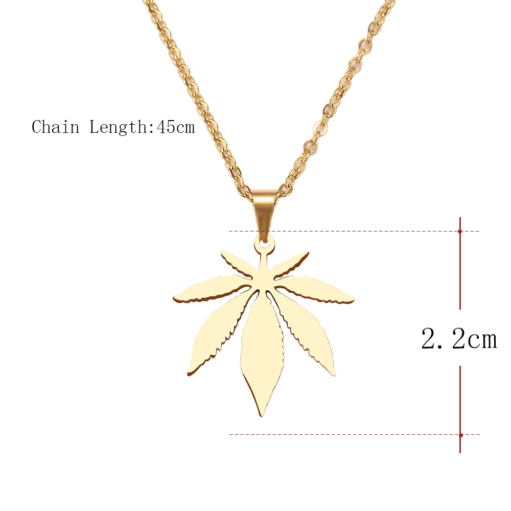 DOTIFI Stainless Steel Necklace For Women Man Maple Leaf Choker Pendant Necklace Engagement Jewelry 6