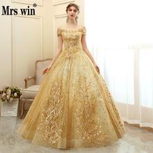Mrs Win Quinceanera платье 2020 Новое роскошное вечернее бальное платье для выпускного бала винтажное кружевное Пышное Платье Vestido De quincanera размера плюс
