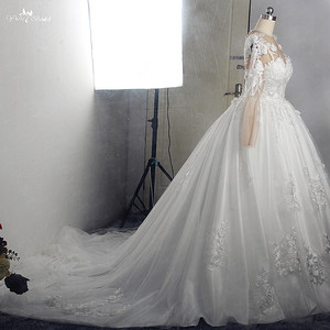 Image 3 - RSW1572 Robe De Mariee Illusion Back Buttones Flower Dress Princess Full Sleeves Wedding Gowns