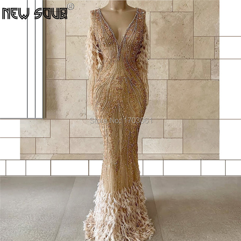 Generous Beading Evening Dresses Couture Dubai Diamond Luxury Prom Dress 2019 Handmade Feathers Muslim Aibye Gowns Robe De Soire