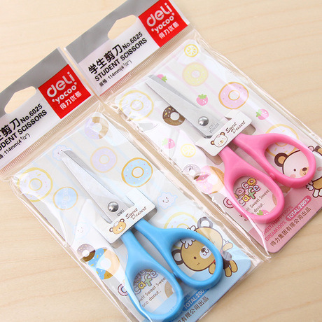 Deli 6025 Young STUDENT'S With Scissors Paper Cutting Knife Children Safe Manual Scissor Round-Toe Art Scissors