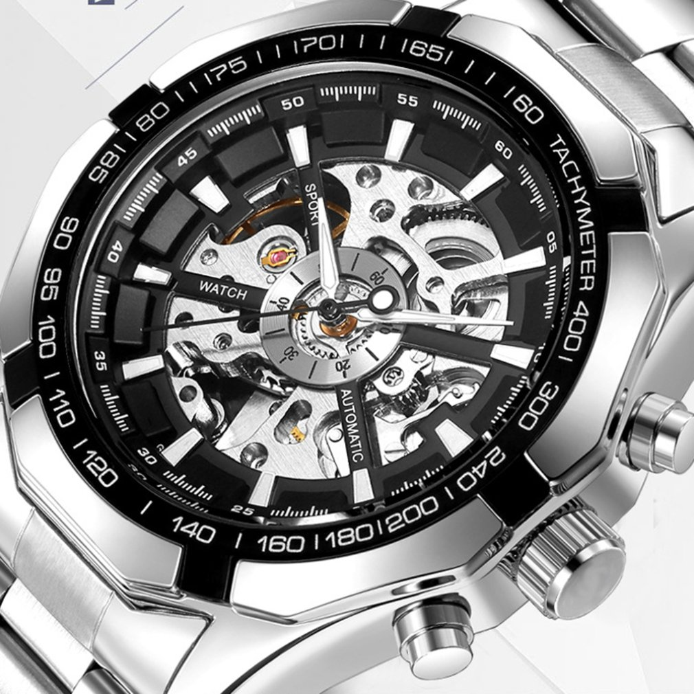 Men Business Fashion Hollow Automatic Mechanical Watch Luxury Stainless Steel Belt Casual Creative Waterproof Watch Reloj Hombre