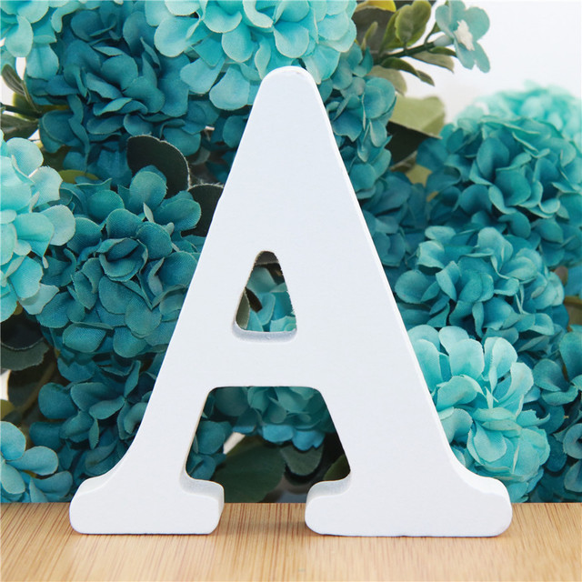 1pc 10cm White Wooden Letters Alphabet DIY Word Letter Party Wedding Home Decor Name Design Art Crafts Standing 3.94 Inches 2