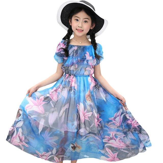 Kız çocuk yaz elbisesi plaj çiçek uzun çocuk elbise tatil plaj elbise çocuklar genç kız giysileri 5 6 8 10 12 13 yıl