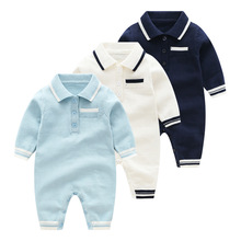 New autumn knitted jumpsuit multi-color lapel coat boy baby pure cotton wool