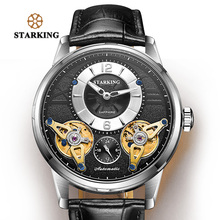 STARKING Automatic Watch Europe Fashion Double Tourbillon Skeleton Watch Men Brand Luxury Stainless Steel Wristwatches Relogio стоимость