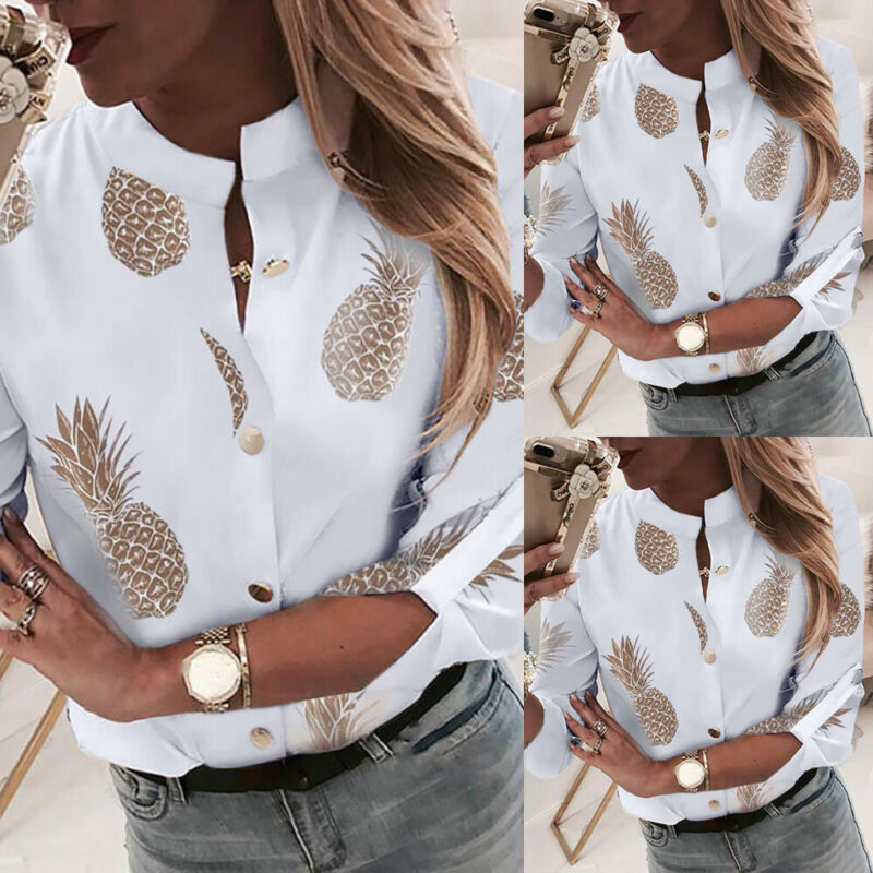 Hirigin Autumn Womens Ladies Casual Tops Long Sleeve Button V Neck Elegant Pineapple Floral Business Shirts