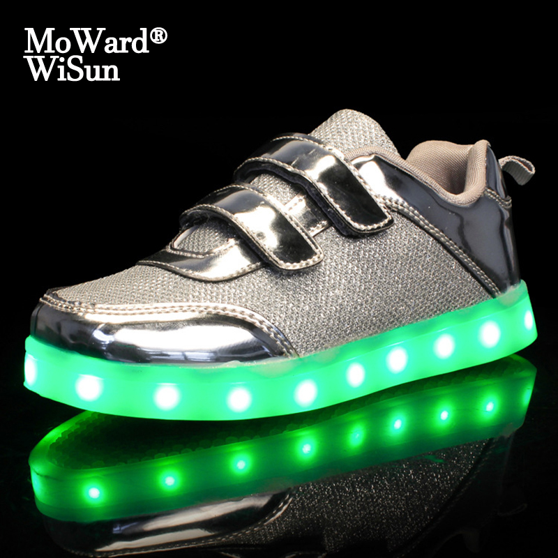Size 25-37 USB Charging Basket Led Children Shoes With Light Up Kids Casual Boys&Girls Luminous Sneakers Glowing Shoe