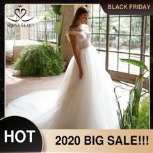 Сказочное свадебное платье с бусинами; Роскошная юбка; I227; Платье принцессы из тюля с открытыми плечами и кристальным поясом; Свадебное платье; Vestido de novia