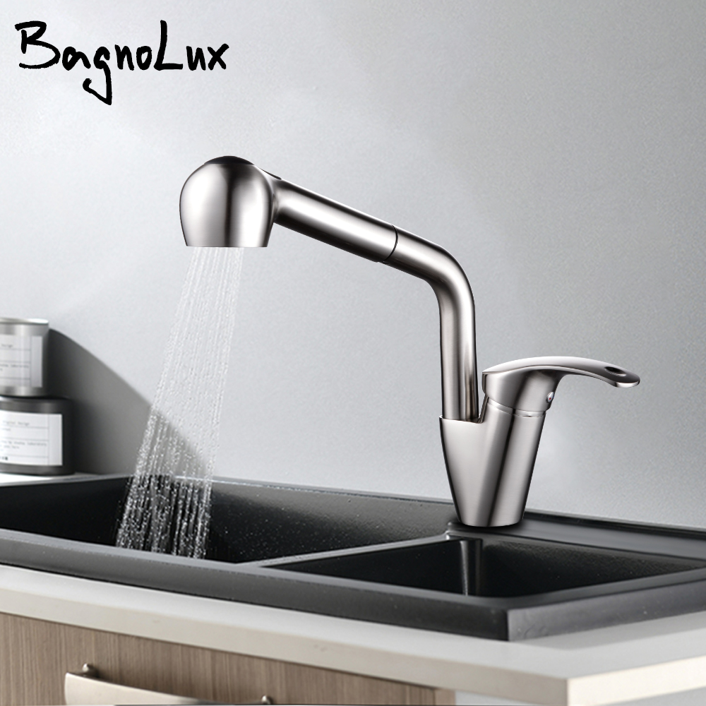 Brushed Nickel Hot And Cold Water Countertop Installation 360 Degree Rotation Faucet Pull Out Spray Kitchen Sink Tap
