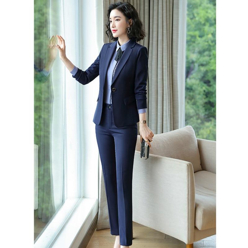 Professional Women's Suit 2019 Autumn New Temperament Solid Color Slim Large Size Blazer Casual Pants Suit Office Suit Two-piece