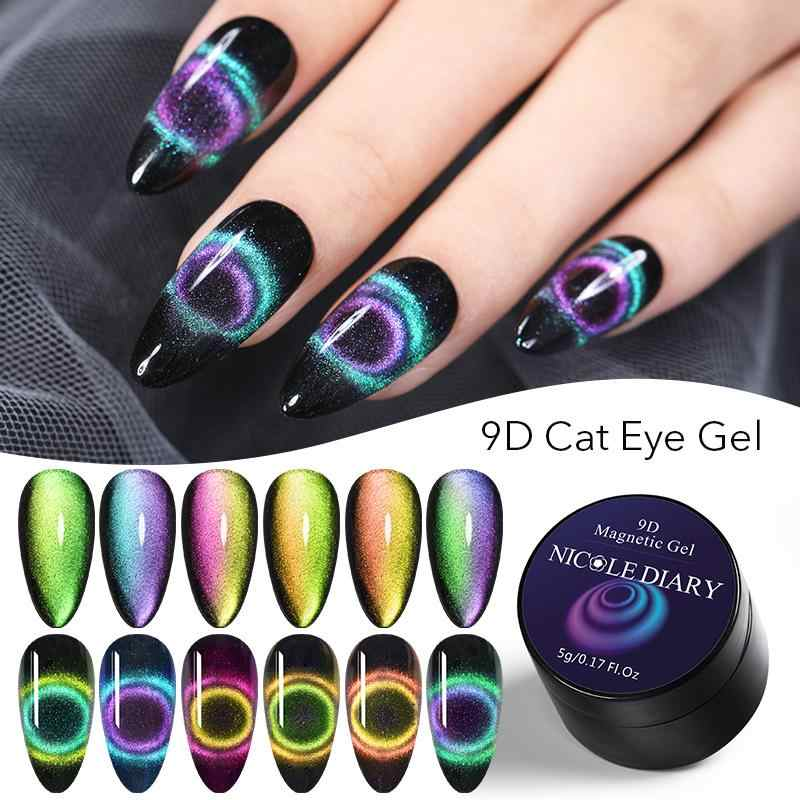 NEE JOLIE Magnet Cat Eye UV Gel Nail Polish 9D Efek Rendam Off Nail Art Magnetic Gel Cat Kuku Seni ornamen UV Gel Varnish