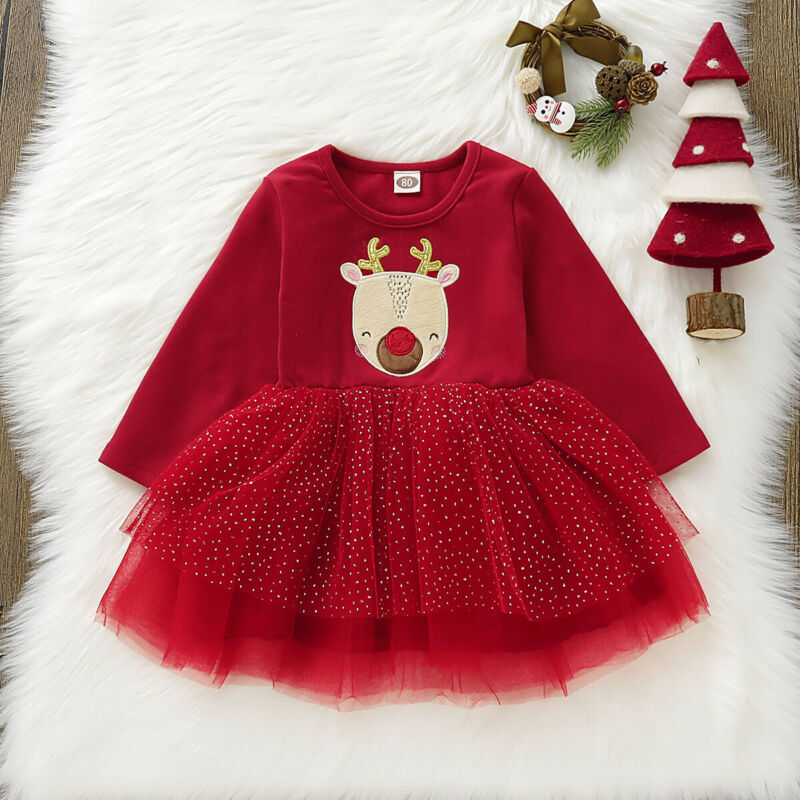 US Infant Baby <font><b>Girls</b></font> <font><b>Christmas</b></font> Xmas Clothes Outfit <font><b>Red</b></font> Xmas Party <font><b>Christmas</b></font> <font><b>Long</b></font> <font><b>Sleeve</b></font> TutuTutu <font><b>Dress</b></font> Clothes 1-4 Years image