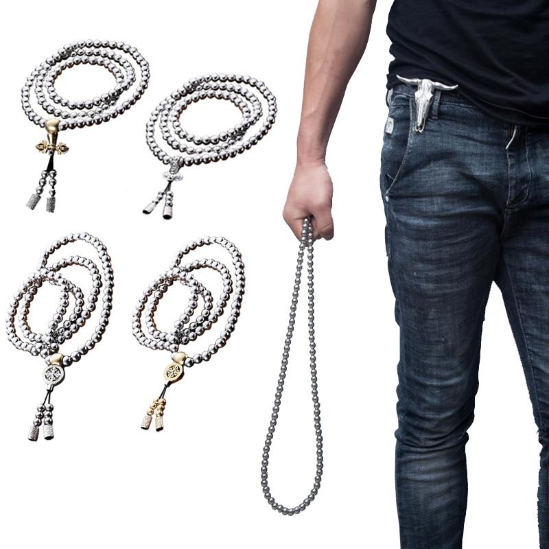Мужской женский открытый 108 Будда бусы молитва самообороны ручной браслет, ожерелье цепь полная стальная цепь Личная защита кемпинг