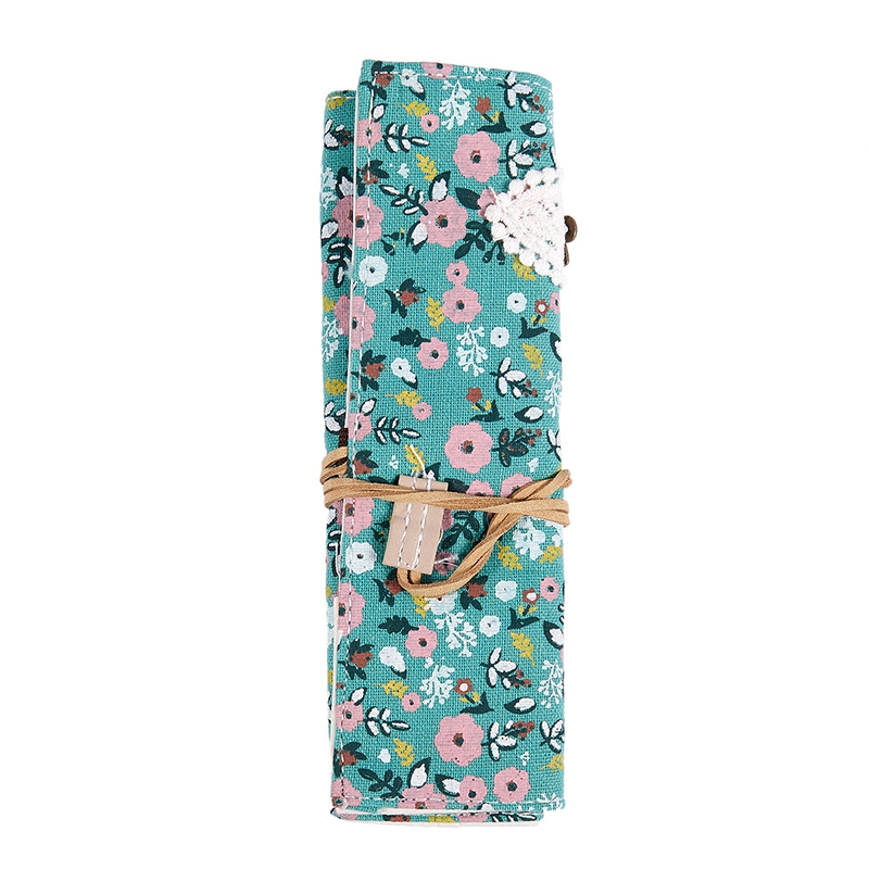 Student Stationery Canvas Roll Up Pencil Case Pen Brush Wrap Makeup Cosmetic Bag Pattern:13. Green Flower Pouch
