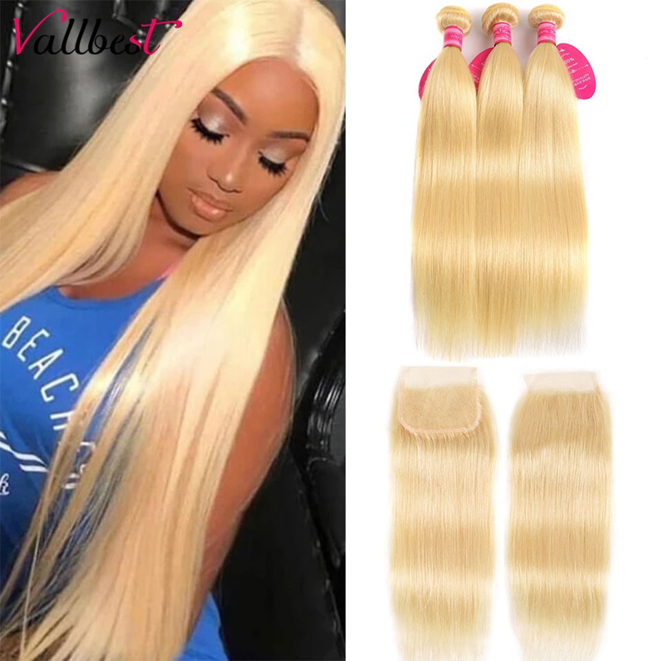 613 светлые прямые волосы Vallbest, пряди с закрытием, малазийские человеческие волосы, пряди с кружевной застежкой, Детские волосы Remy