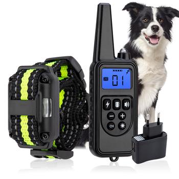 Elektryczne szkolenia psów z wyświetlaczem LCD kołnierz wodoodporny akumulator Bark-stop zdalne sterowanie obroże dla dźwięku wibracji wstrząsów tanie i dobre opinie DogLemi Obroże szkoleniowe Z tworzywa sztucznego 800 meters Shock vibration sound Rechargeable lithium-ion battery (built-in)