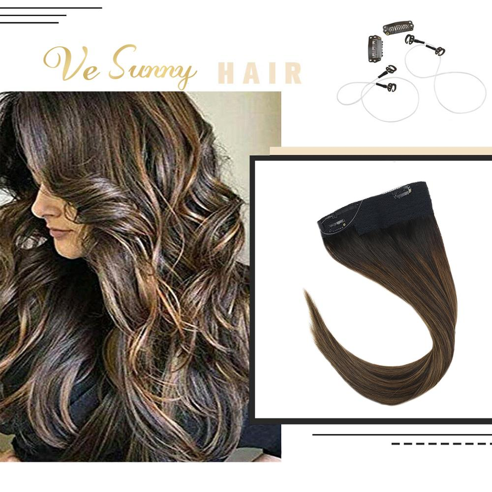 VeSunny One Piece Invisible Halo Hair Extensions Human Hair Flip Wire With 2 Clips Balayage Dark Brown To Medium Brown #2/2/6