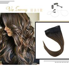 цена на VeSunny One Piece Invisible Halo Hair Extensions Human Hair Flip Wire with 2 Clips Balayage Dark Brown to Medium Brown #2/2/6