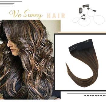 Vesunny Een Stuk Onzichtbare Halo Hair Extensions Human Hair Flip Draad Met 2 Clips Balayage Donkerbruin Tot Medium Bruin #2/2/6