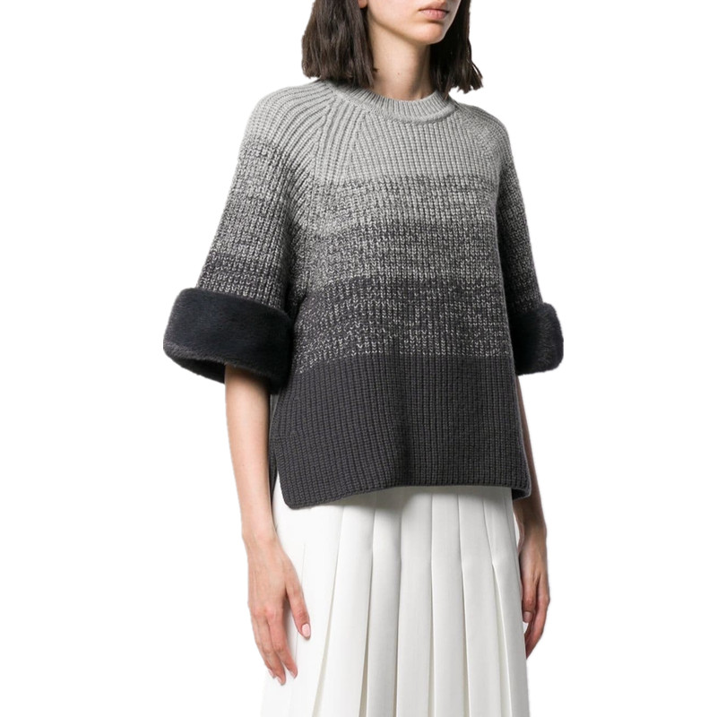 Faux Fur Patchwork Wool Blend <font><b>Sweater</b></font> 2019 Autumn Gradient Striped <font><b>3/4</b></font> <font><b>Sleeve</b></font> Crop Top Pullover Knitted <font><b>Sweaters</b></font> Loose Jumper image