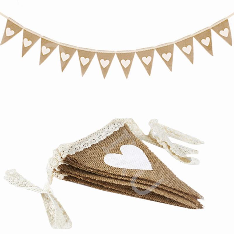 12 флагов, джутовая ткань, флажки, баннер, белое сердце, кружево, 2,5 м, винтажные Свадебные баннеры, свадебное украшение в деревенском стиле ...