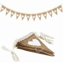 12 fahnen Jute Stoff Bunting Banner weiß Herz spitze 2,5 m vintage Hochzeit Party Sackleinen Banner Rustikalen hochzeit dekoration 5BB5780