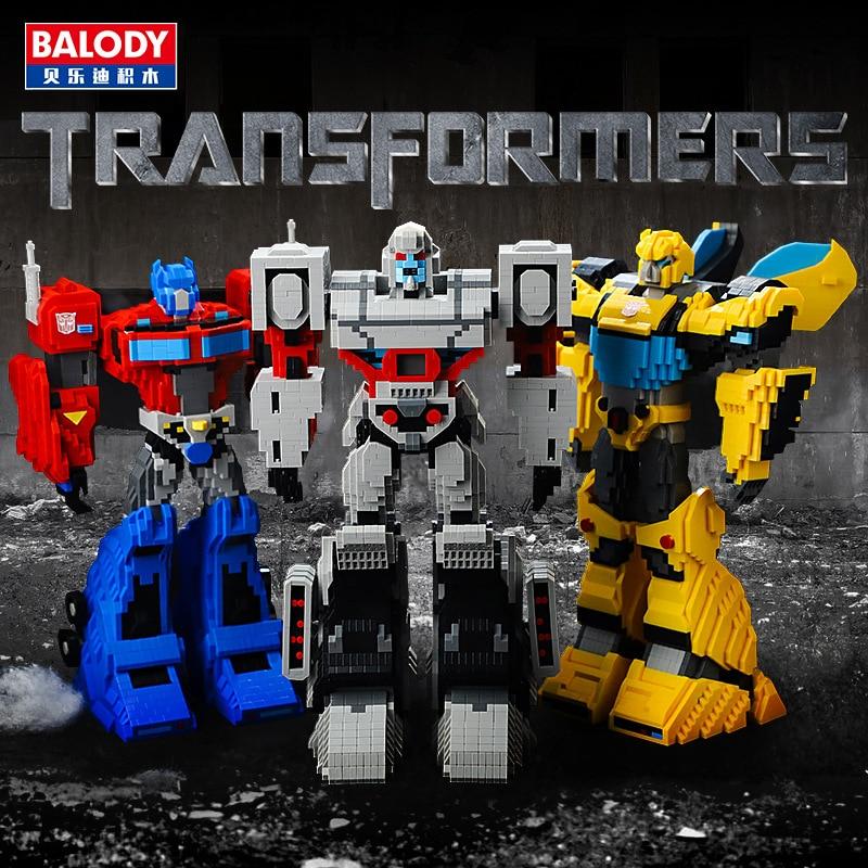 BALODY 3544pcs+ Transformation Robot Building Blocks Truck Model Deformation Car Optimus Bumblebee Brick Toys For Children