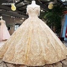 Vestido de novia de la falda grande LS65411 sin mangas vestidos de noche de color dorado champán