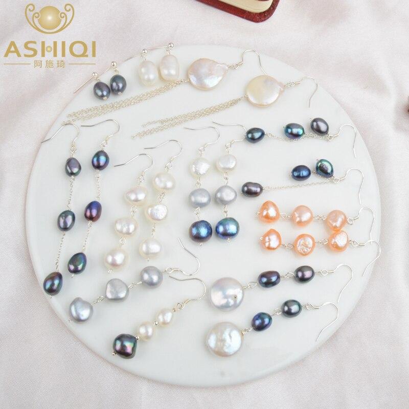 ASHIQI Natural Freshwater Pearl Earrings Real 925 Sterling Silver Long Korean Earrings For Women Big Baroque Pearl Jewelry Gift