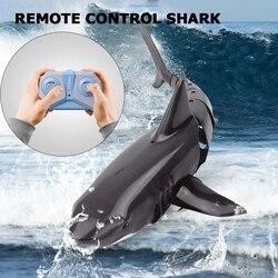 Rc Simulatie Haai Speelgoed 2.4Ghz Dubbele Propeller Afstandsbediening Haai Boot Waterdichte Usb Oplaadbare Zwemmen Badkamer Speelgoed