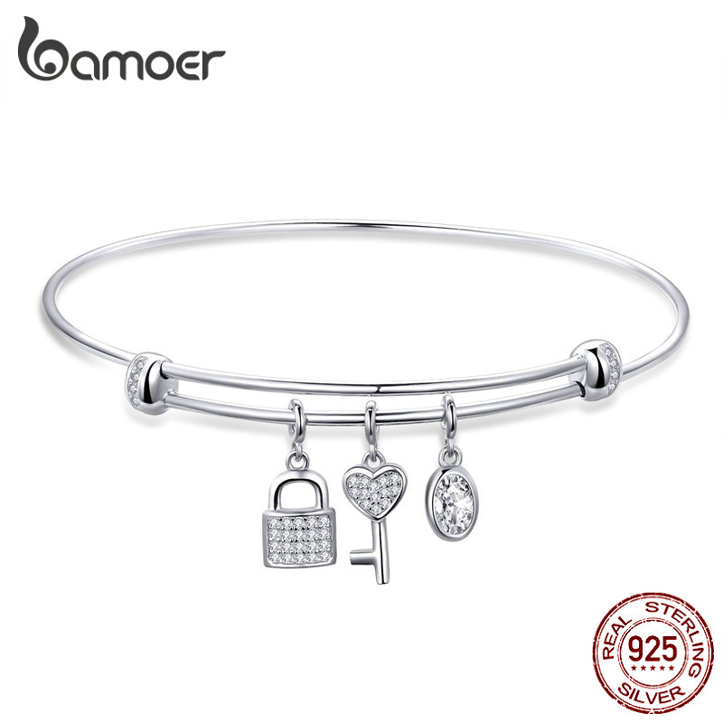 BAMOER Lock and Key Bangle 925 Sterling Silver Adjustable Clear CZ Bracelet for Women Engagement Wedding Fine Jewelry SCB119
