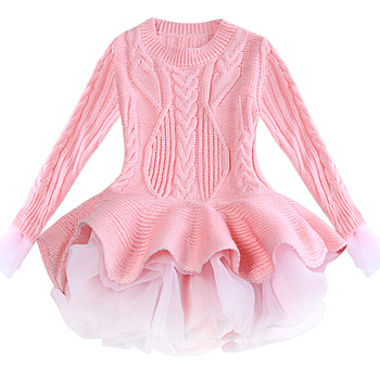 Red Tutu Girls Dress Long sleeve Knit Girls dresses Winter 2019 Autumn Tulle Casual Kids Dresses for girls Christmas Dress Party 3